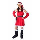 ff71217eedefa Disfraz Papa Noel Vestido Mujer Traje Tafeta-navidad Fiestas