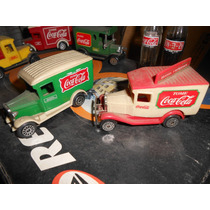 Lote 5 Camioncitos De Coleccion Coca Cola + 2 Mini Botellas