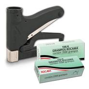 Kit Grampeador Manual 106 Premium Estofador + Grampos Rocama
