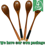4pcs Good Grips Handmade Natural Wooden Soup Cooking Spoons,