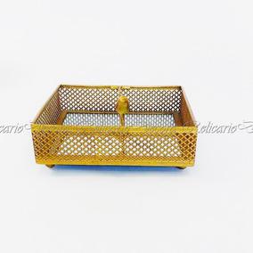 Porta Guardanapo De Papel Em Alumínio Dourado Niquelado