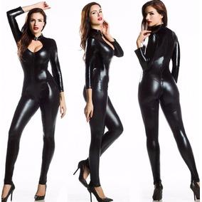 Macacão Catsuit Fantasia Mulher Gato Cosplay Sexy Preto