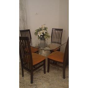 Mesa De Vidro Base Marmore Com 4 Cadeiras
