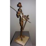 Don Quijote De La Mancha Figura Bronce Macizo Lanza Espada