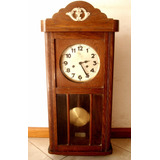 Antiguo Reloj Pared Aleman Junghans Pendulo Caja Roble 1920c