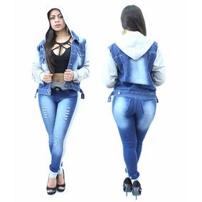 Conjunto Feminino Jaqueta + Calça Jeans Destroyed C/ Capuz