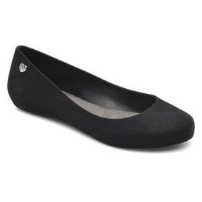 Flat Mel Flocked Negro Dama Mujer Zapato Mel By Melissa