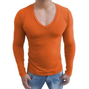 Camiseta Masculina Gola V Funda Manga Longa