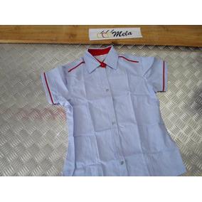 Camisa D Dama Chambray Manga Corta Azul Claro Con Rojo T - L