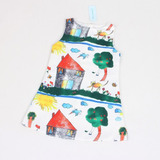 Vestido Infantil Lindo!!! Estampa Desenhos Pronta Entrega