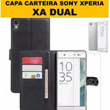 Case Flip Couro Carteira Xperia Xa Dual 5.0 + Pel Vidro