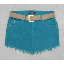Moda Feminina - Saia - Mini-saia Color Verde Àgua Jeans