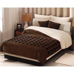 Cobertor Borrega Cuadros Chocolate Matrimonial