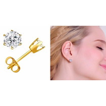 Hermosos Aretes Broquel Oro Lm. 14k Y Diamantes Ruso 78pts