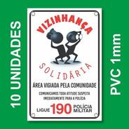 Placa Vizinhança Solidária Kit 10 Unid - Pvc 1mm - 20x30cm