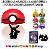 Pokebola Bola + Miniatura + Carta Pokemon Porta Anel Aliança