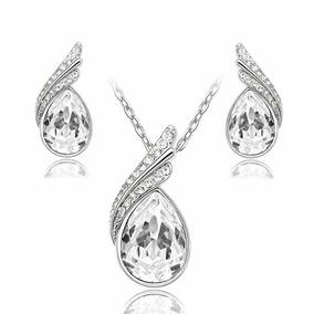 Aretes Y Collar Chapa Oro Con Cristales Swa + Envio