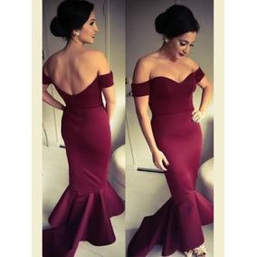 Vestido Largo Elegante Hombros Espalda Descubierta