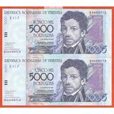 5000 Bs De 2002 B-8 Consecutivos, Nuevecitos.