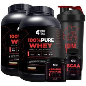 Kit 2x Whey 100% Pure Concentrado + Bcaa + Creatina + Shaker