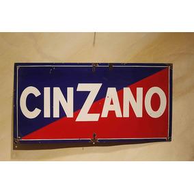 Cartel Antiguo Enlozado Cinzano 60x30cm