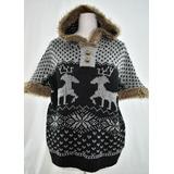 Sweaters Poncho Bariloche Boho Chi Con Peluche Piel Amplio
