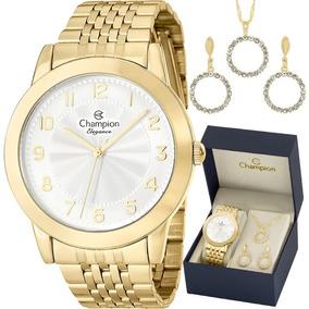 Kit Relógio Champion Feminino Com Colar E Brincos Cn28428w