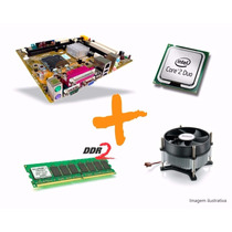 Kit Intel Lga 775 -core2 Duo + Placa Mãe + Cooler + 2gb Ddr2