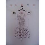 Vestido Infantil Branco Bolinhas Cód. 594
