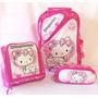 Kit Mochila Infantil De Rodinhas G Hello Kitty Oferta