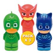 Pack 3 Figuras Muñecos Pj Masks  ¡4 En 1! Sello Crayón