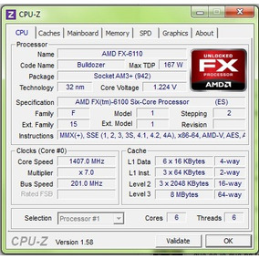 Procesador Amd Fx 6100 6-core 3.3ghz Socket Am3+ Black Editi