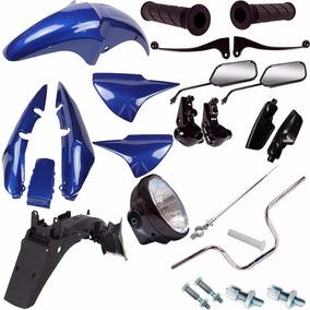 Kit Carenagem + Kit Guidao Farol Cg 150 Titan 2007 Azul