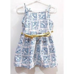 Vestido Infantil Feminino, Azul E Branco, C/ Cinto Dourado.