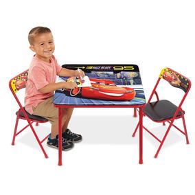 Juego Actividades Infantil Cars Rayo Mcqueen Mesa Y 2 Sillas