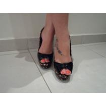 Sapato Animal Print Feminino Peep Toe Oncinha - 35