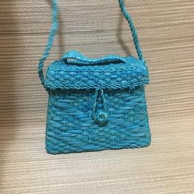 Bolsa De Palha Personalizada Baú Mini - Turquesa