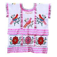 Huipil De Listones Rosa, Textil Bordado A Mano, Aripo.