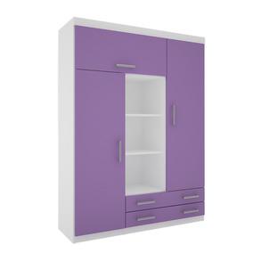 Placard Ropero Juvenil Corredera Metálica 140cm Bco/violeta