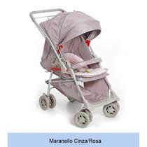 Carrinho Bebe Galzerano Maranello Cinza Rosa Reversível