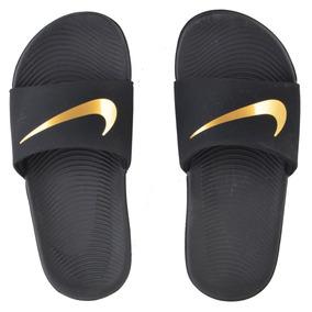 Chinelo Nike Infantil Kawa Slide (gs/ps) Preto/dourado