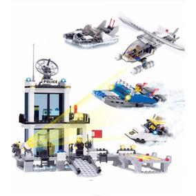 Blocos De Montar Polícia Barco Helicóptero Compatível Lego