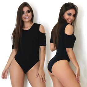 Body Feminino Manga Curta Collant Ombro Cavado Blusa Trend