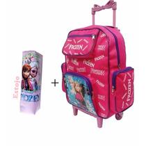 Mochila Escolar Infantil Frozen Com Rodinhas + Estojo Cod 02