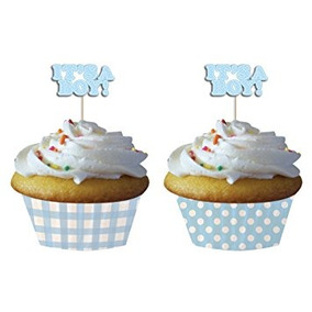 Creative Converting Baby Shower Boy Gingham 12 Count Cupcake