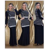 Vestido Longo Moda Evangelica Tecido Ponto Roma Kit C/03