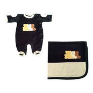 Macacão Plush Menino Com Manta Ursinho -marinho-baby Fashion