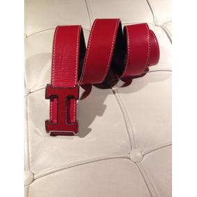 Cinto H Dupla Face Preto / Vermelho Fivela Vermelha 105cm