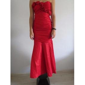 Sedutor Vestido Modelo Sereia Em Tafetá Vermelho