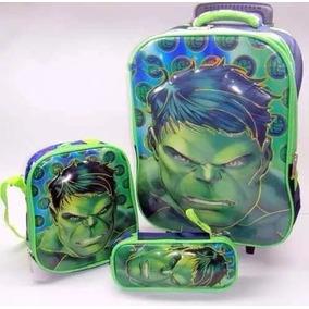 Kit Mochila Escolar Infantil De Rodinhas Avengers Hulk 3d